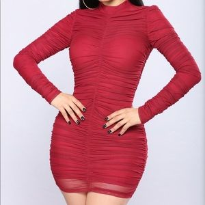 Fashion Nova ruched dress in burgundy